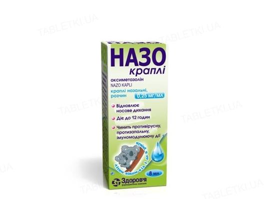 Назо капли капли наз., р-р, 0.25 мг/мл по 8 мл во флак.