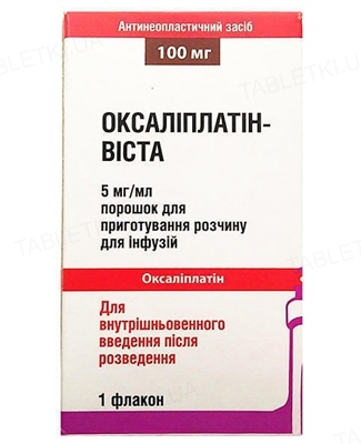 Оксалиплатин-Виста порошок д/приг. р-ра д/инф. по 5 мг/мл (100 мг) №1 во флак.