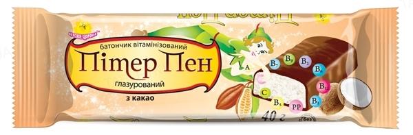Батончик Пітер Пен глазур. шок. вітамінізований Какао по 40 г у плівці