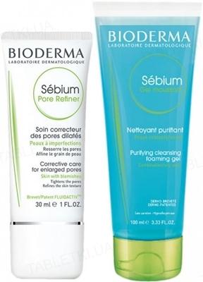 Набор Bioderma Sebium концентрат для сужения пор, 30 мл + Гель очищающий Sebium, 100 мл