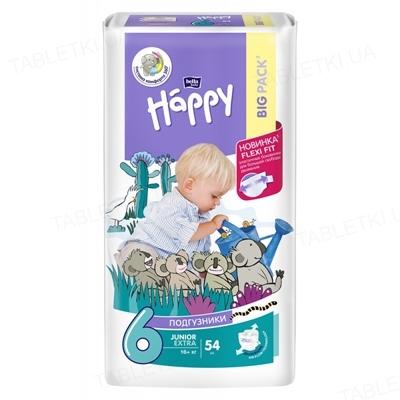 Подгузники детские Happy Bella Baby junior extra, размер 6, вес более 16 кг, 54 штуки