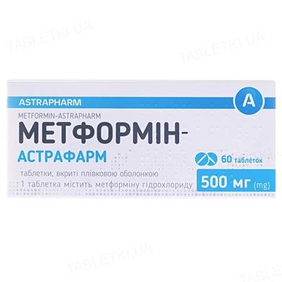 Метформин-Астрафарм таблетки, п/плен. обол. по 500 мг №60 (10х6)