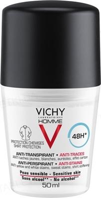 Дезодорант-антиперспирант Vichy Homme шариковый, 48 часов защиты против белых и желтых пятен, 50 мл