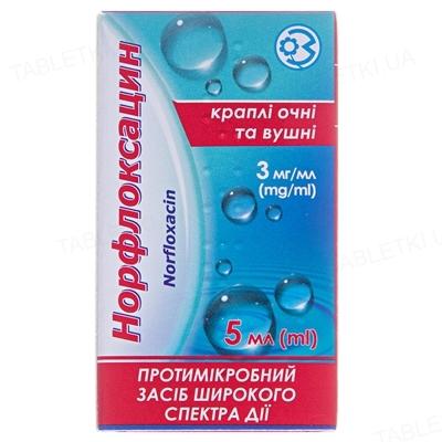 Норфлоксацин капли глаз./уш. 3 мг/мл по 5 мл во флак.