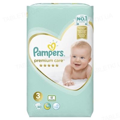 Подгузники детские Pampers Premium Care размер 3, 6-10 кг, 60 штук