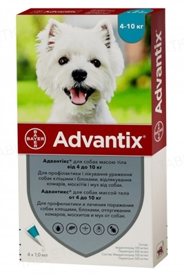 Адвантикс Bayer капли от заражений экто паразитами для собак 4-10 кг, 1 пипетка