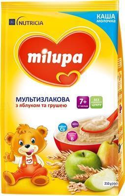 Молочная каша Milupa мультизлаковая с яблоком и грушей, 210 г