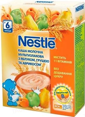 Молочная каша Nestle мультизлаковая с яблоком, грушей, абрикосом, с 6 месяцев, 200 г