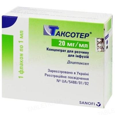 Таксотер концентрат для р-ра д/инф. 20 мг/мл по 1 мл (20 мг) №1 во флак.