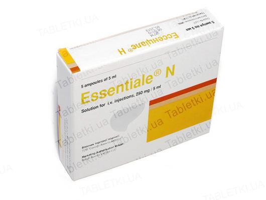 Эссенциале Н раствор д/ин. в/в 250 мг/5 мл по 5 мл №5 в амп.