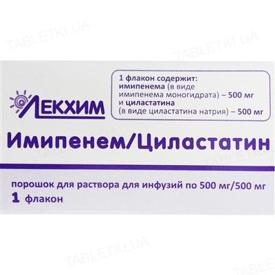 Имипенем-циластатин порошок для р-ра д/инф. по 500 мг/500 мг №1 во флак.
