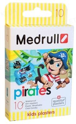Пластир бактерицидний Medrull Pirates на полімерній основі, дитячий, розміром 2,5 см х 5,7 см, 10 штук