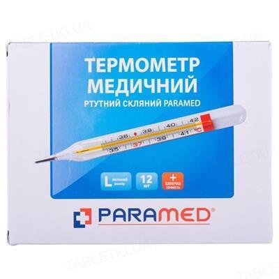Термометр медицинский Paramed стеклянный ртутный, 12 штук