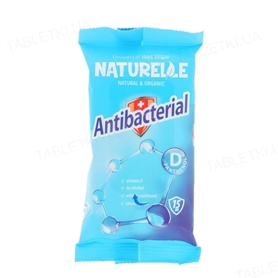 Салфетки влажные Naturelle Antibacterial с D-пантенолом, 15 штук