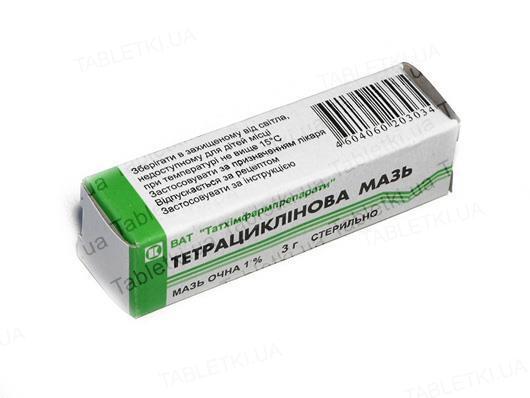 Тетрациклінова мазь оч. 1 % по 3 г у тубах