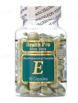Комплекс Health Pro Aloe Vera увлажнение для лица и шеи с алоэ и витамином Е капсулы №90