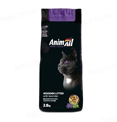 Наполнитель для туалета AnimAll древесный с ароматом лаванды, 2,8 кг