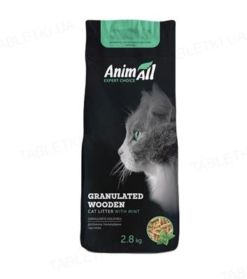 Наполнитель для туалета AnimAll древесный с ароматом мяты, 2,8 кг