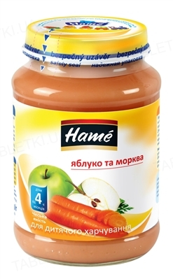 Фруктовое пюре Hame Яблоко и морковка, 190 г