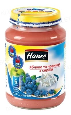 Фруктовое пюре Hame Яблоко и черника с творогом, 190 г