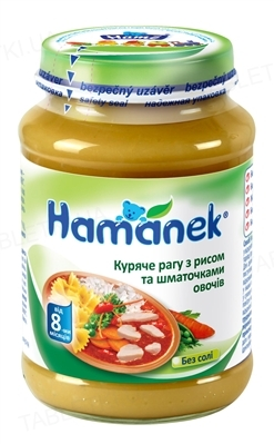 Мясо-овощное пюре Hame Hamanek Куриное рагу с рисом и кусочками овощей, 190 г