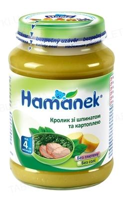 Мясо-овощное пюре Hame Hamanek Кролик со шпинатом и картофелем, 190 г