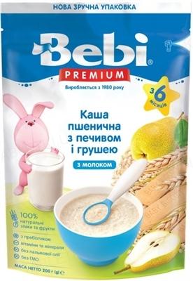 Сухая молочная каша Bebi Premium Пшеничная с печеньем и грушей, 200 г