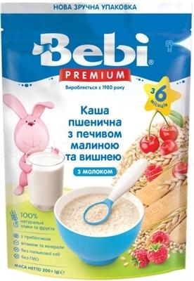 Суха молочна каша Bebi Premium Пшенична з печивом, малиною і вишнею, 200 г