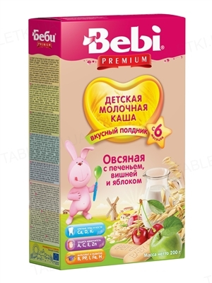 Суха молочна каша Bebi Premium Вівсяна з печивом, вишнею і яблуком, 200 г