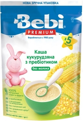 Сухая безмолочная каша Bebi Premium Кукурузная низкоаллергенная, 200 г