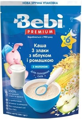 Суха молочна каша Bebi Premium 3 злаки з яблуком і ромашкою, збагачена пребіотиками, 200 г