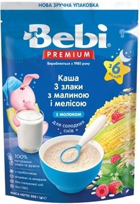 Суха молочна каша Bebi Premium 3 злаки з малиною, мелісою, збагачена пребіотиками, 200 г