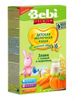 Суха молочна каша Bebi Premium Злаки з гарбузом та морквою, 200г