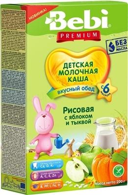 Сухая молочная каша Bebi Premium Рисовая с яблоком и тыквой, 200 г
