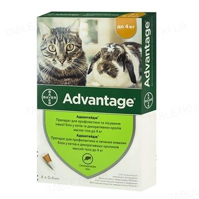 Адвантейдж 40 Bayer капли от заражений блохами для котов и котят до 4 кг, 4 пипетки