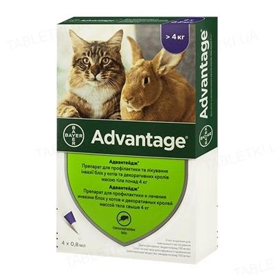 Адвантейдж 80 Bayer капли от заражений блохами для котов больше 4 кг, 1 пипетка