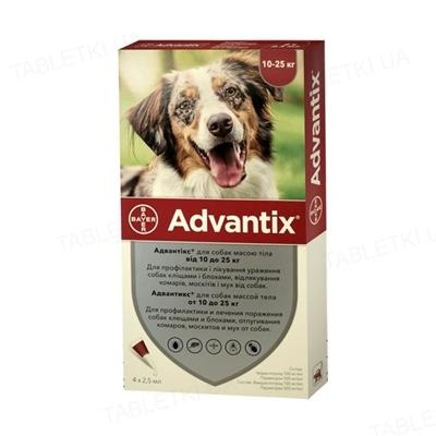 Адвантикс Bayer капли от заражений экто паразитами для собак 10-25 кг, 1 пипетка