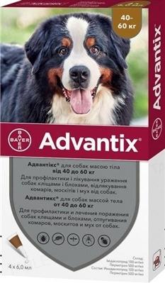 Адвантикс Bayer капли от заражений экто паразитами для собак 40-60 кг, 4 пипетки