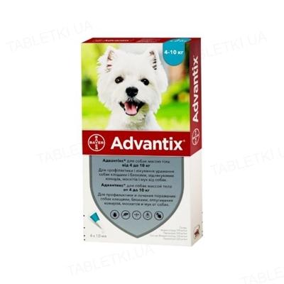 Адвантикс Bayer капли от заражений экто паразитами для собак 4-10 кг, 4 пипетки
