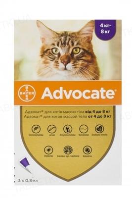 Адвокат Bayer краплі від заражень ендо- та екто паразитами для котів 4-8 кг, 1 піпетка