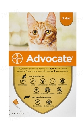 Адвокат Bayer краплі від заражень ендо- та екто паразитами для котів до 4 кг, 1 піпетка
