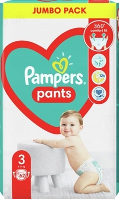 Подгузники-трусики детские Pampers Pants размер 3, 6-11 кг, 62 штук