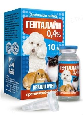 Генталайн краплі очні 0,4% для гризунів, собак і котів, 10 мл