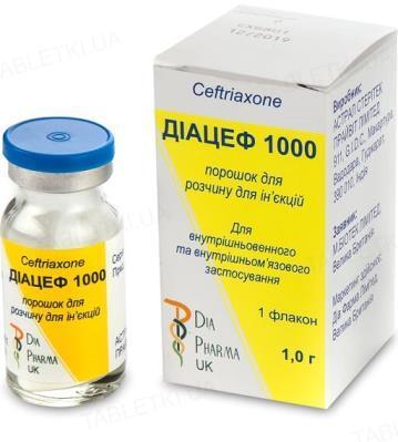 Диацеф 1000 порошок для р-ра д/ин. по 1 г №1 во флак.