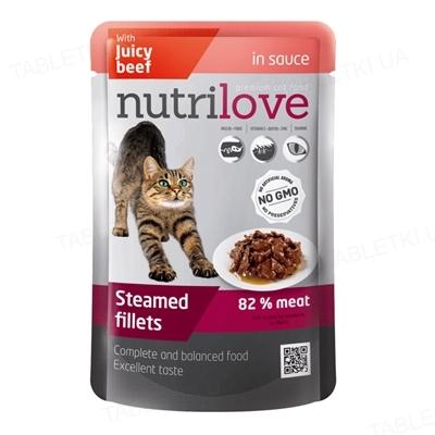 Корм влажный для кошек Nutrilove Pouch NMP тушеные кусочки с сочной говядиной в соусе, 85 г