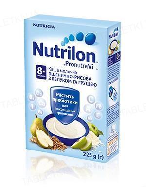 Молочная каша Nutrilon пшенично-рисовая с яблоком и грушей для детей с 8 месяцев, 225 г