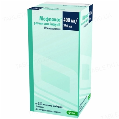 Мофлакса раствор д/инф. 400 мг/250 мл по 250 мл во флак.
