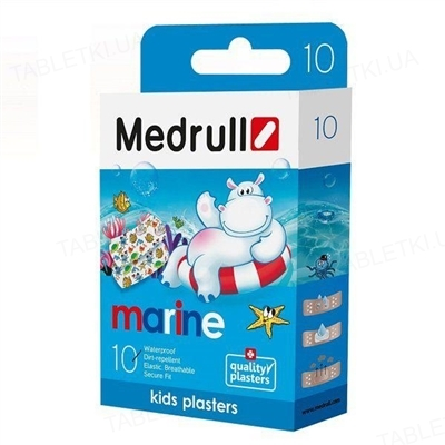 Набір пластирів медичних Medrull Marine на полімерній основі, 1,9 см х 7,2 см, 10 штук