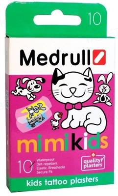 Набір пластирів медичних Medrull дитячих Mi Mi Kids бактерицидних на полімерній основі, 25 мм х 57 мм, 10 штук