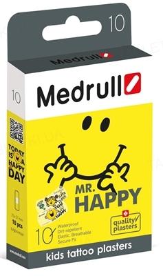 """Набір пластирів медичних Medrull дитячих Тату """"Mr. HAPPY"""" бактерицидних на полімерній основі, 25 мм х 57 мм, 10 штук"""